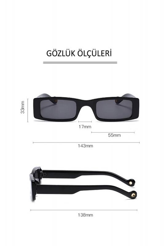 Botte Dikdörtgen Dar Çerçeveli Bayan Güneş Gözlüğü Siyah