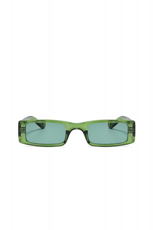 Botte Dikdörtgen Dar Çerçeveli Bayan Güneş Gözlüğü Yeşil