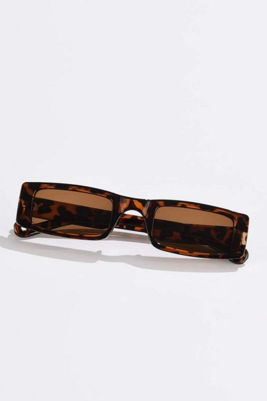 Botte Dikdörtgen Dar Çerçeveli Erkek Güneş Gözlüğü Leopar