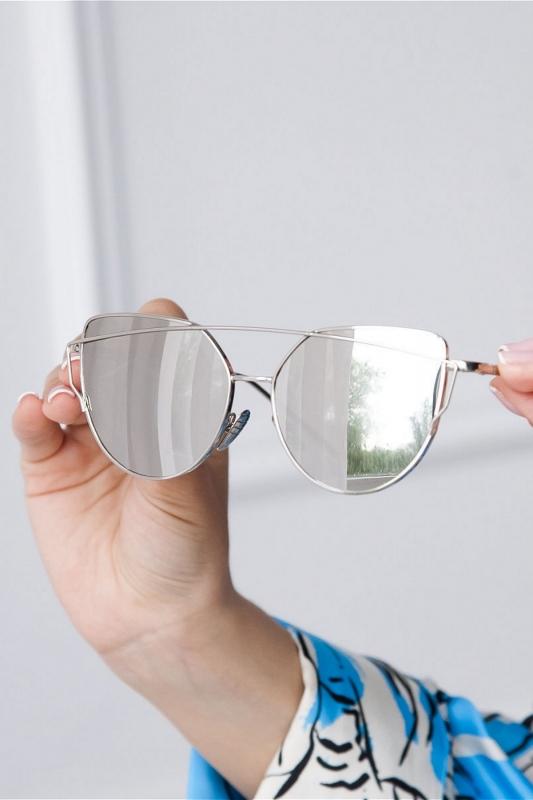 Breaking Heart Silver Metal Çerçeveli Cat Eye Unisex Güneş Gözlüğü Aynalı