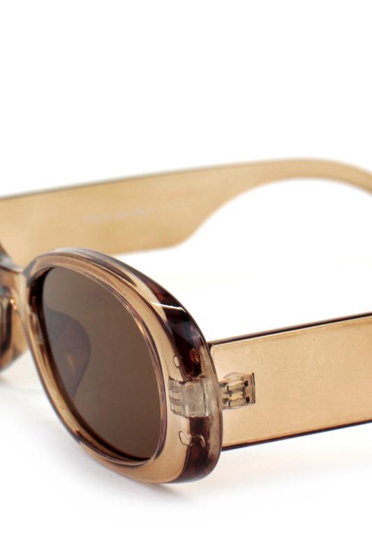 Brooklyn Kahverengi Camlı Oval Kemik Çerçeveli Retro Bayan Güneş Gözlüğü Bej