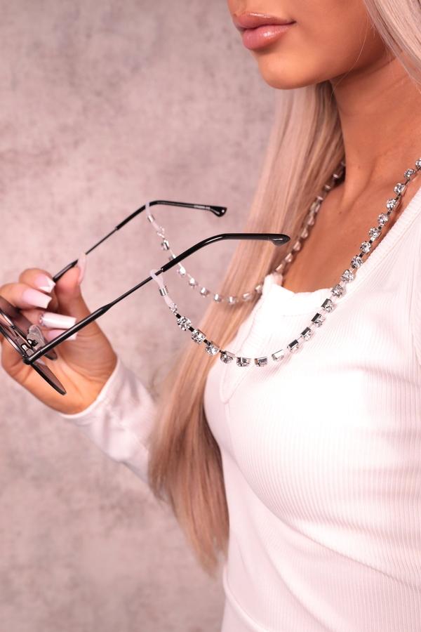 Büyük Kristal Taşlı Gözlük Zinciri Silver
