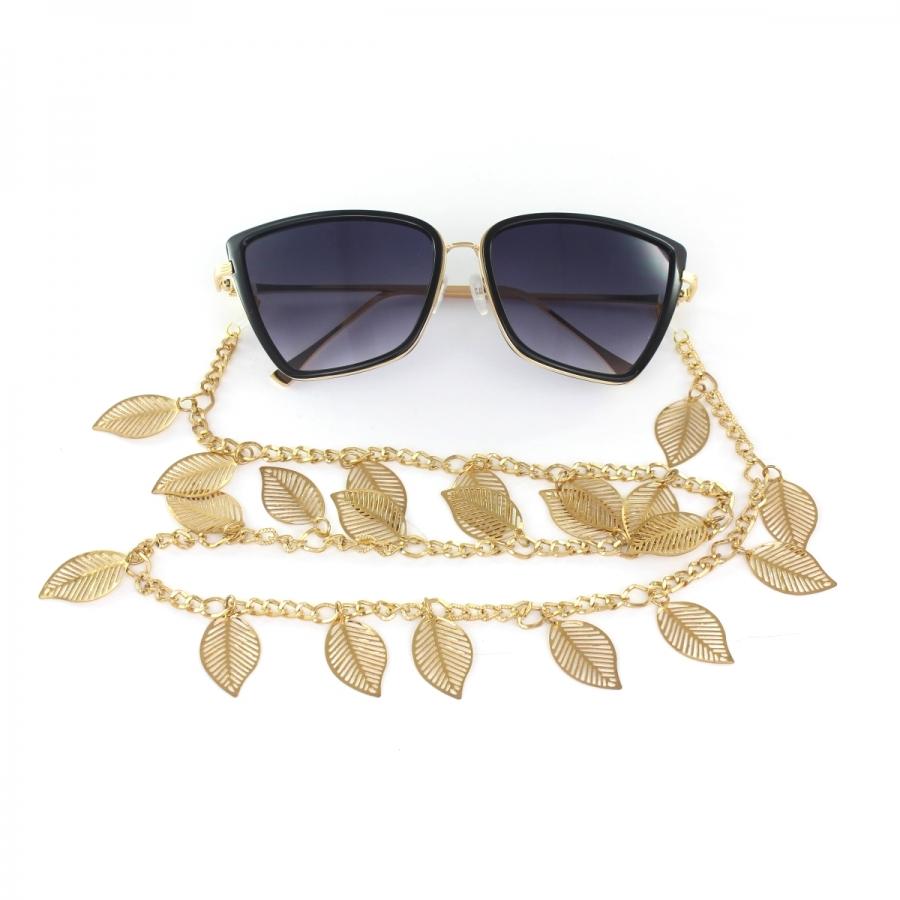 Büyük Yapraklı Sallantılı Gözlük Zinciri Gold