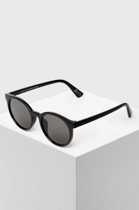 Calli Siyah Camlı Retro Yuvarlak Erkek Güneş Gözlüğü Parlak Siyah