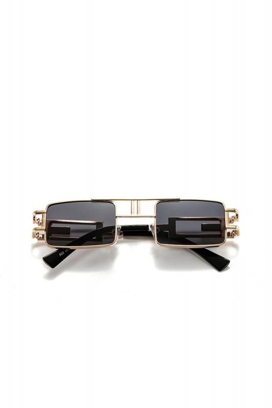 Carbon Gold Metal Çerçeveli Dikdörtgen Bayan Güneş Gözlüğü Siyah