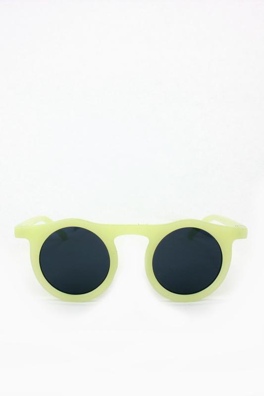 Carla Retro Siyah Yuvarlak Camlı Unisex Güneş Gözlüğü Sarı