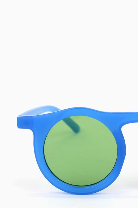 Carla Retro Yeşil Yuvarlak Camlı Unisex Güneş Gözlüğü Mavi