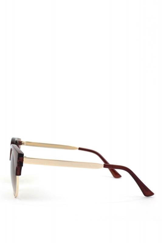 Carol Gold Metal Çerçeveli Cat Eye Güzeş Gözlüğü Kahverengi
