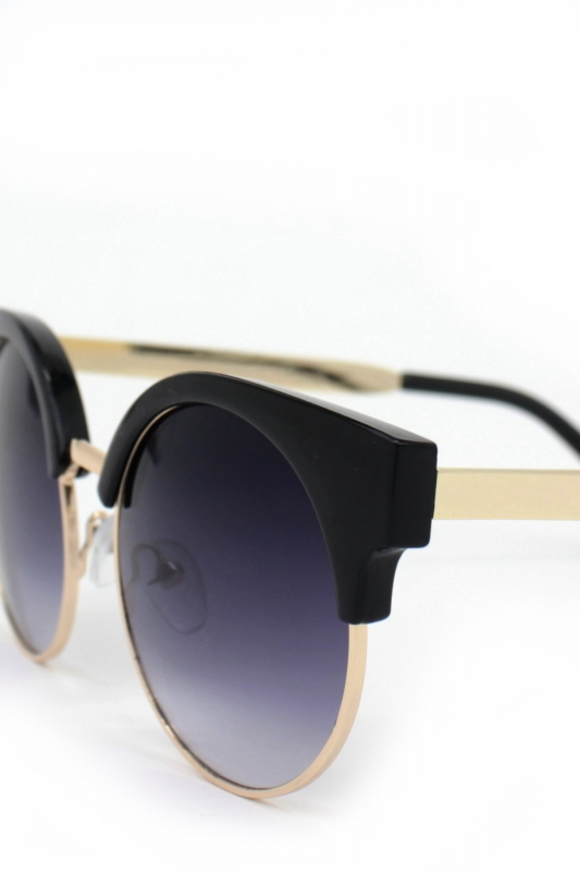 Carol Gold Metal Çerçeveli Cat Eye Güzeş Gözlüğü Siyah