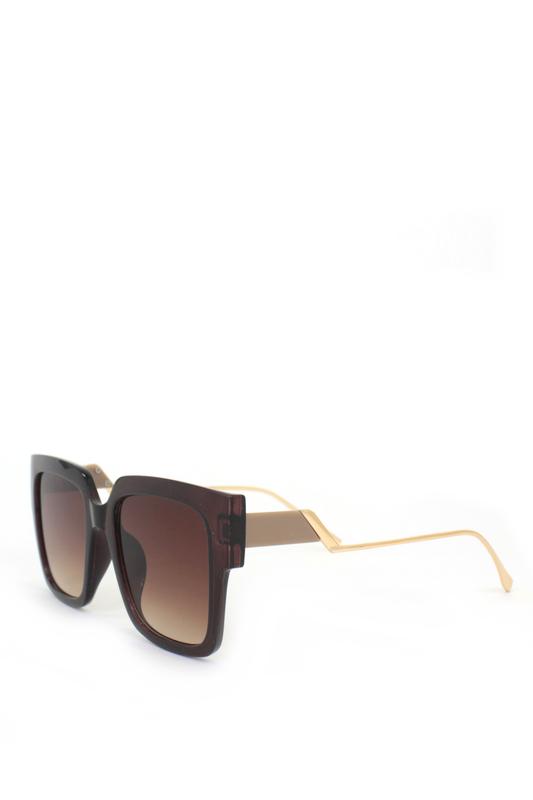 Casey Kahverengi Camlı Gold Metal Saplı Kare Bayan Güneş Gözlüğü Bej Kahverengi