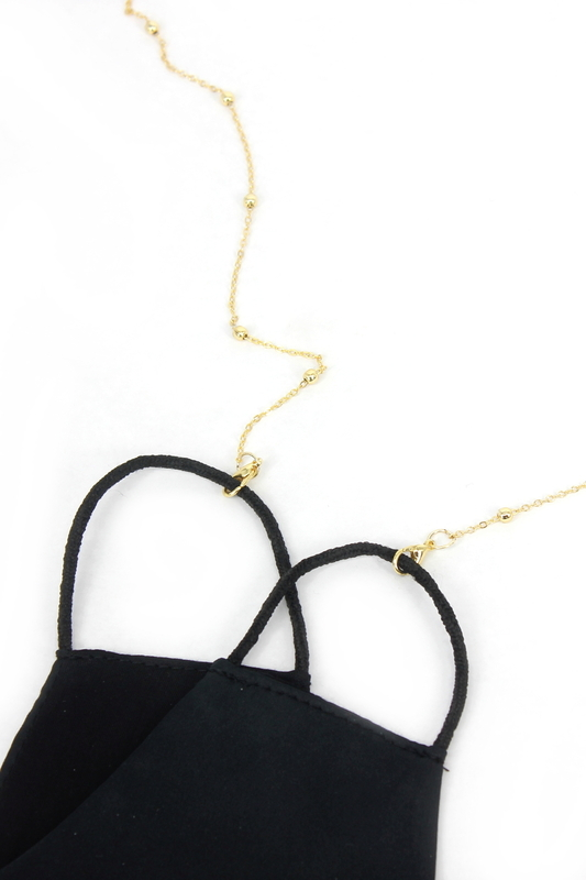 Chic Minik Toplu Tasarım Maske Zinciri Gold 75cm