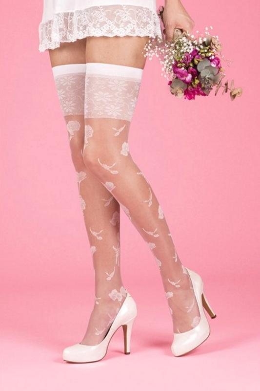 Çiçek Desenli Jartiyer Gelin Çorabı Beyaz