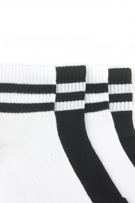 Çizgili Kısa Konç Koton Spor Çorap Siyah Beyaz 4'lü Paket