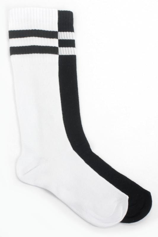 Çizgili Pamuklu Diz Altı Çocuk Çorabı Siyah Beyaz 2'li Paket