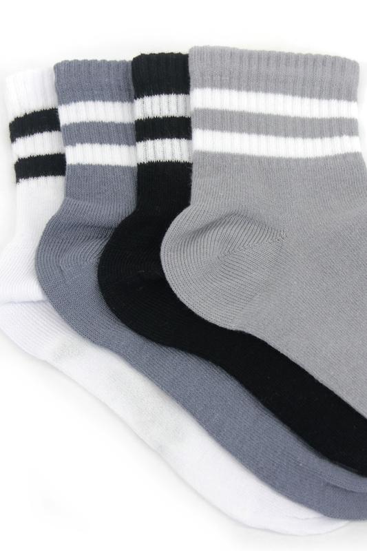 Çizgili Pamuklu Kısa Çocuk Çorabı Gri Siyah Beyaz 4'lü Paket