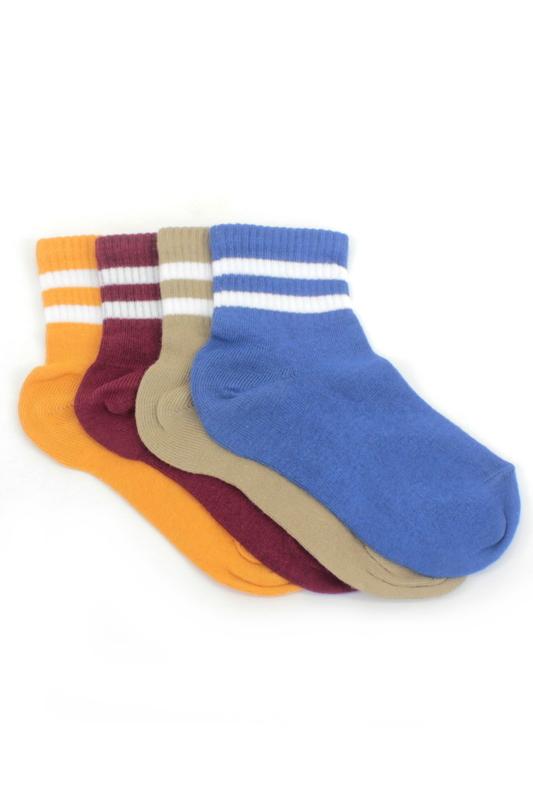 Çizgili Pamuklu Kısa Çocuk Çorabı Renkli 4'lü Paket
