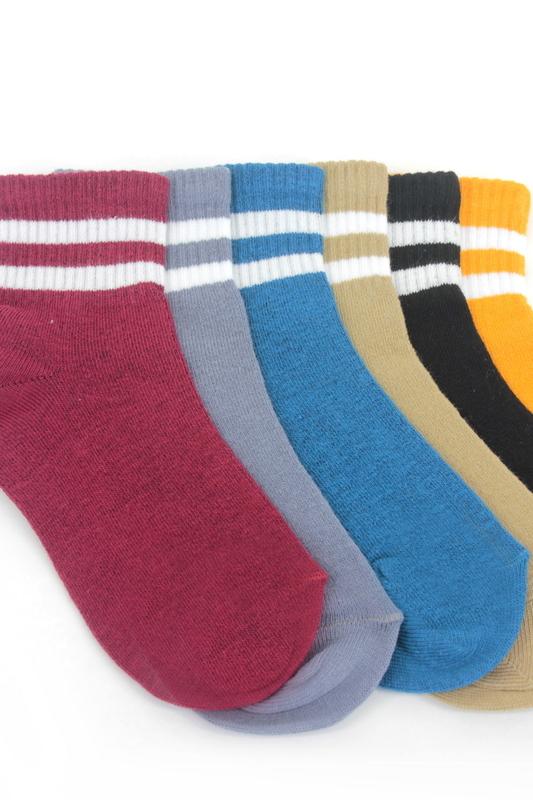 Çizgili Pamuklu Kısa Çocuk Çorabı Renkli 6'lı Paket