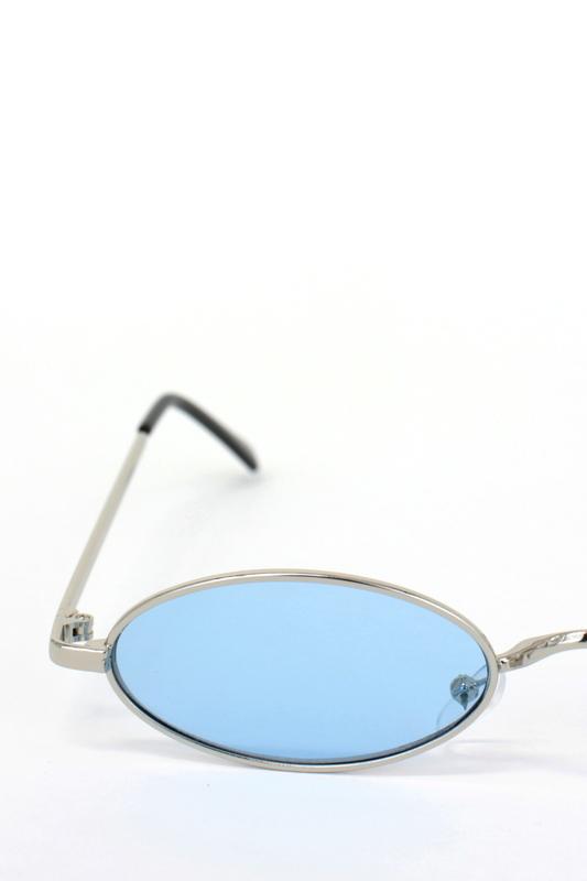 Classy Silver Metal Çerçeveli Küçük Oval Unisex Güneş Gözlüğü Mavi