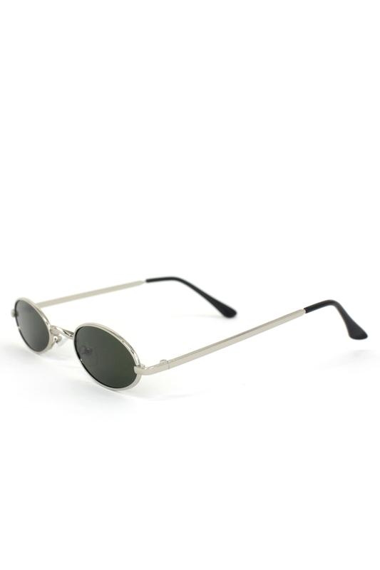 Classy Silver Metal Çerçeveli Küçük Oval Unisex Güneş Gözlüğü Yeşil