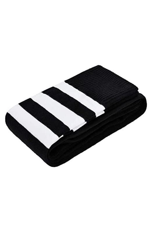Club Beyaz Çizgili Pamuklu Diz Üstü Çorap Siyah