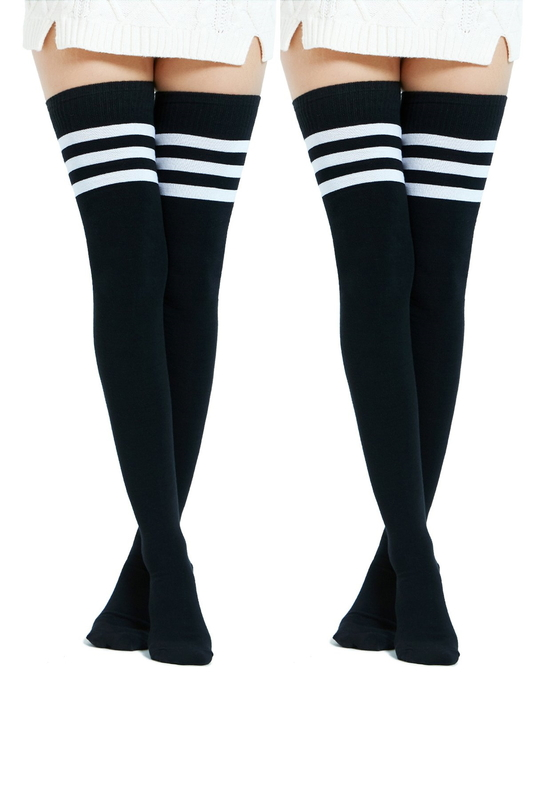 Club Beyaz Çizgili Pamuklu Diz Üstü Çorap Siyah 2'li Paket