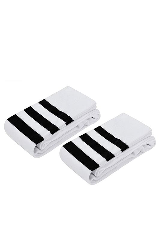 Club Siyah Çizgili Pamuklu Diz Üstü Çorap Beyaz 2'li Paket