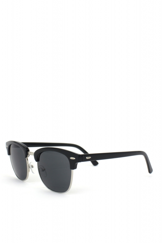 Clubmaster Cat Eye Unisex Güneş Gözlüğü Silver Parlak Siyah