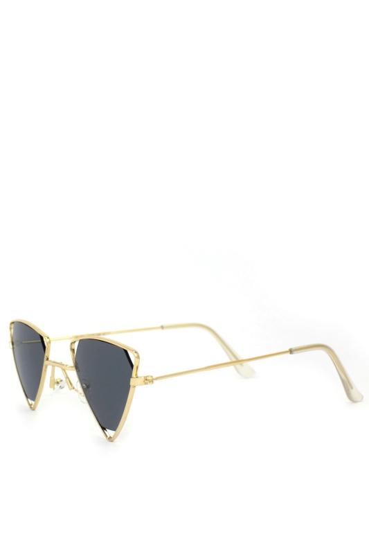 Coachella Gold Üçgen Metal Çerçeveli Erkek Güneş Gözlüğü Siyah
