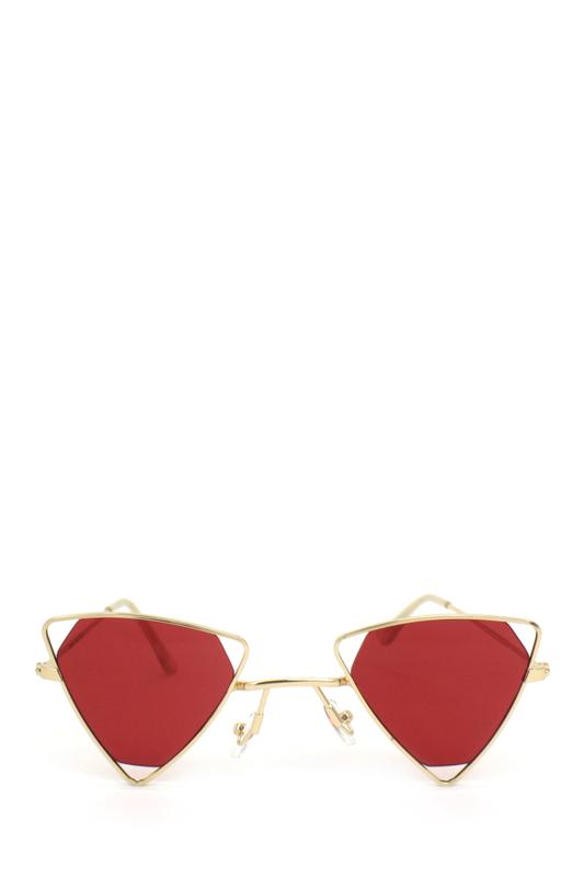 Coachella Gold Üçgen Metal Çerçeveli Güneş Gözlüğü Kırmızı