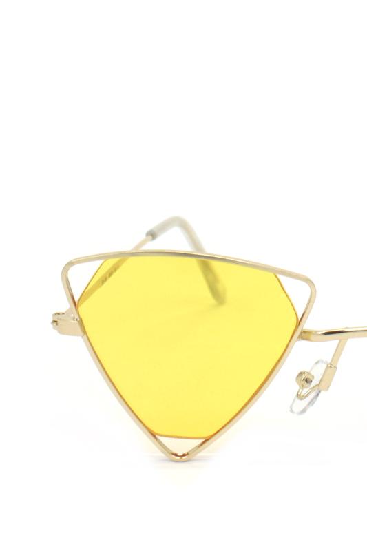 Coachella Gold Üçgen Metal Çerçeveli Güneş Gözlüğü Sarı