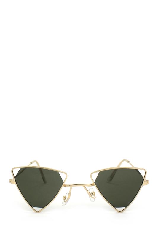 Coachella Gold Üçgen Metal Çerçeveli Güneş Gözlüğü Yeşil