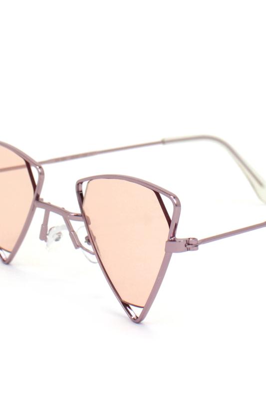 Coachella Rose Üçgen Metal Çerçeveli Güneş Gözlüğü Pembe