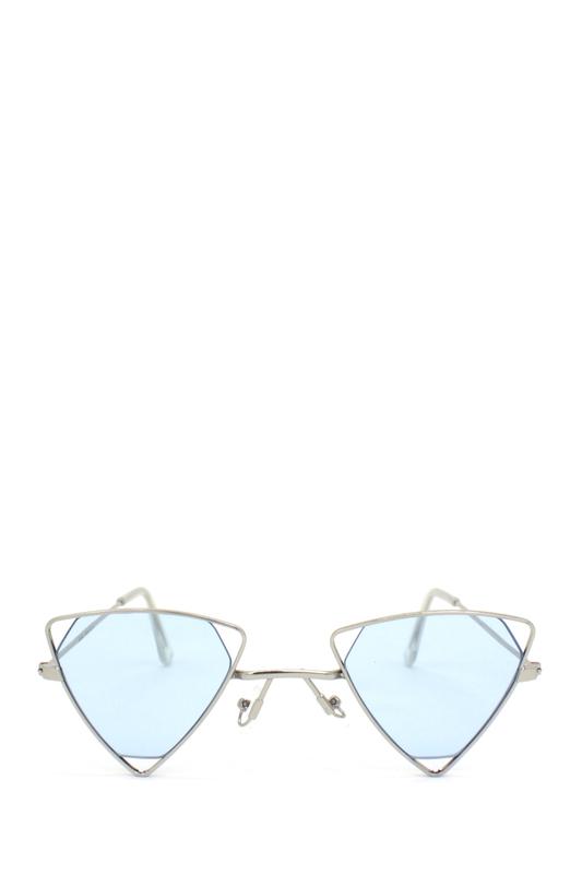 Coachella Silver Üçgen Metal Çerçeveli Güneş Gözlüğü Mavi