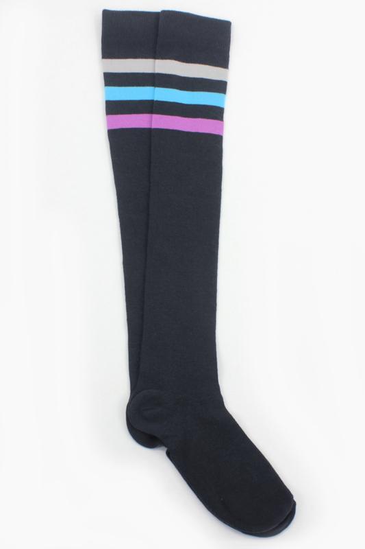 Cozy Renkli Çizgili Pamuklu Diz Üstü Çorap Antrasit Gri
