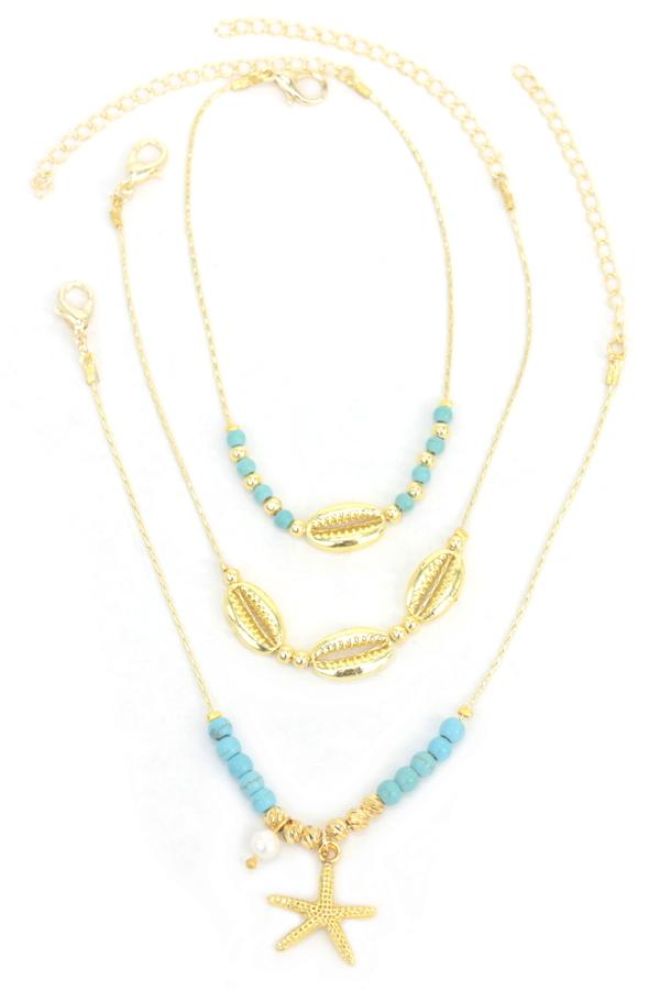 Deniz Yıldızı Mavi Boncuklu 3'lü Halhal Gold