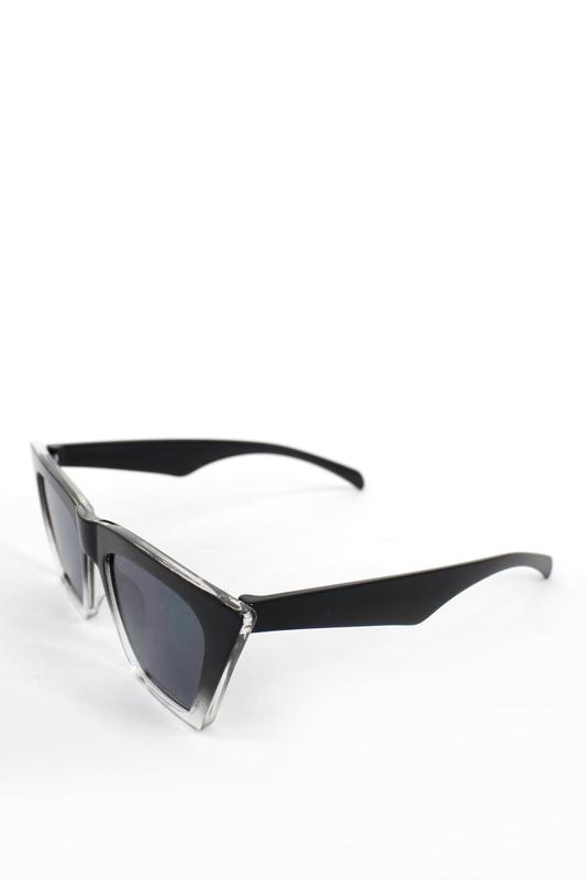 Designer Cat Eye Köşeli Altı Şeffaf Bayan Güneş Gözlüğü Siyah