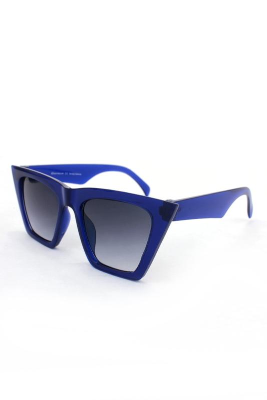 Designer Cat Eye Köşeli Bayan Güneş Gözlüğü Aynalı Degrade Koyu Mavi