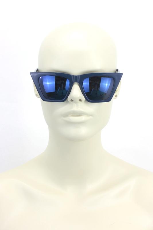 Designer Cat Eye Köşeli Bayan Güneş Gözlüğü Aynalı Lacivert