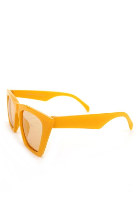Designer Cat Eye Köşeli Bayan Güneş Gözlüğü Aynalı Sarı