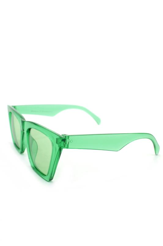 Designer Cat Eye Köşeli Bayan Güneş Gözlüğü Aynalı Yeşil