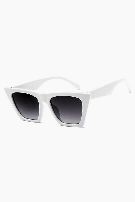 Designer Cat Eye Köşeli Bayan Güneş Gözlüğü Beyaz