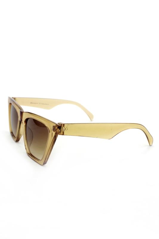 Designer Cat Eye Köşeli Bayan Güneş Gözlüğü Kahverengi Degrade Camlı Açık Kahverengi