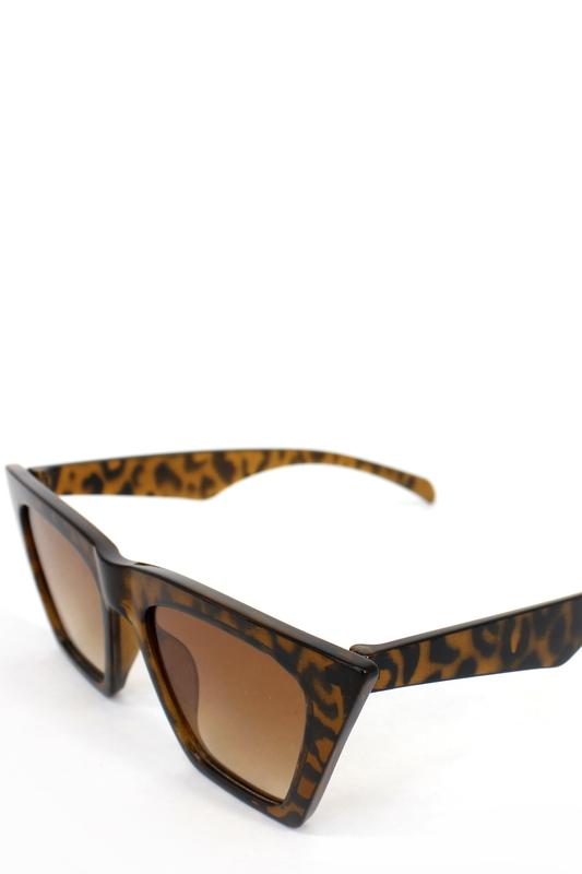 Designer Cat Eye Köşeli Bayan Güneş Gözlüğü Kahverengi Leopar