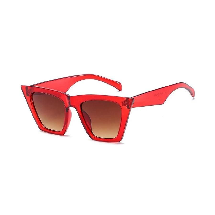 Designer Cat Eye Köşeli Bayan Güneş Gözlüğü Kırmızı