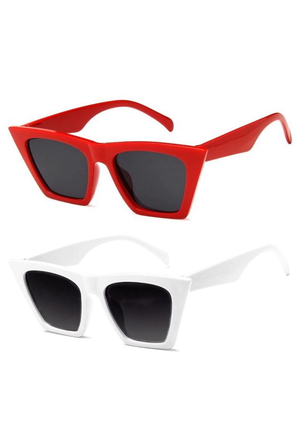 Designer Cat Eye Köşeli Bayan Güneş Gözlüğü Kırmızı Beyaz 2'li