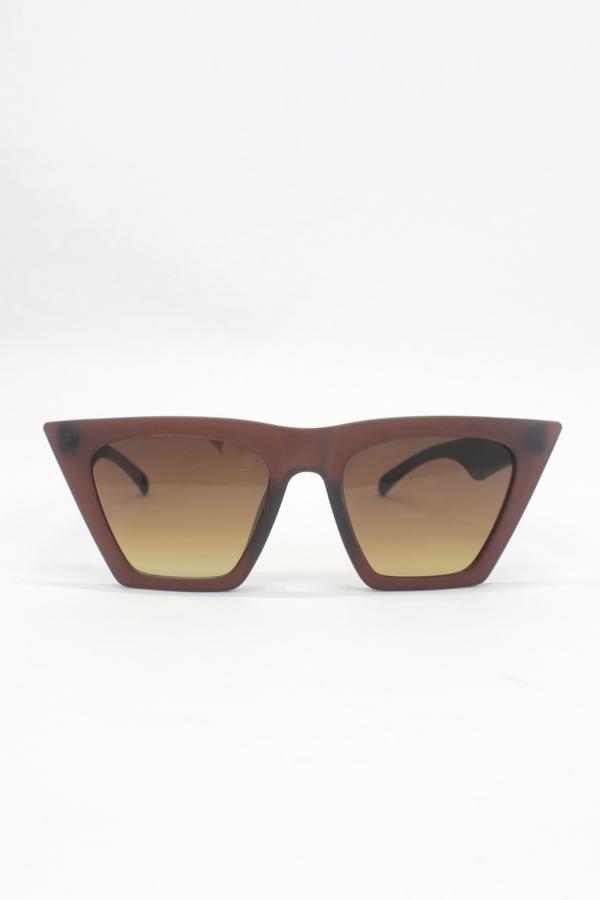 Designer Cat Eye Köşeli Bayan Güneş Gözlüğü Mat Kahverengi