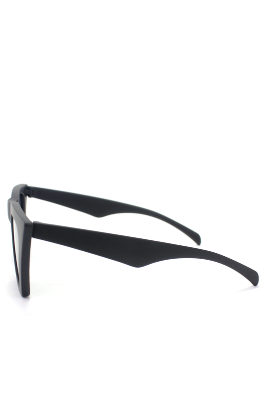 Designer Cat Eye Köşeli Bayan Güneş Gözlüğü Mat Siyah