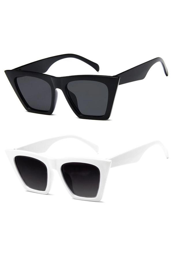 Designer Cat Eye Köşeli Bayan Güneş Gözlüğü Siyah Beyaz 2'li