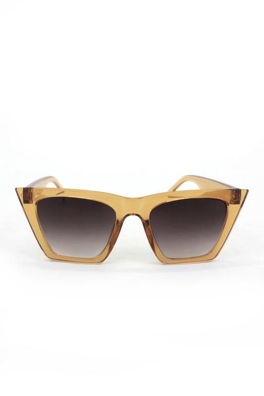 Designer Cat Eye Köşeli Bayan Güneş Gözlüğü Siyah Degrade Camlı Açık Kahverengi