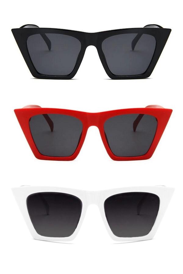 Designer Cat Eye Köşeli Bayan Güneş Gözlüğü Siyah Kırmızı Beyaz 3′lü